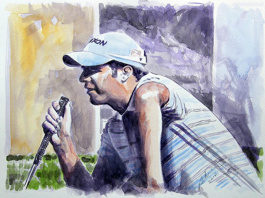 Bradley Dredge Painting by Mark Robinson