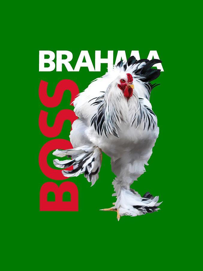 Brahma Digital Art - Brahma Boss T-shirt print by Sigrid Van Dort