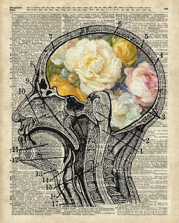 Brain Full Of Flowers Dictionary Art