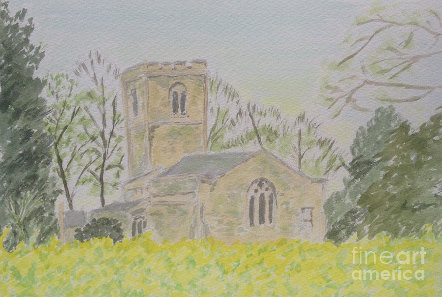 Spring Landscape Painting - Brailsford Church in Splendid Nature by Sawako Utsumi