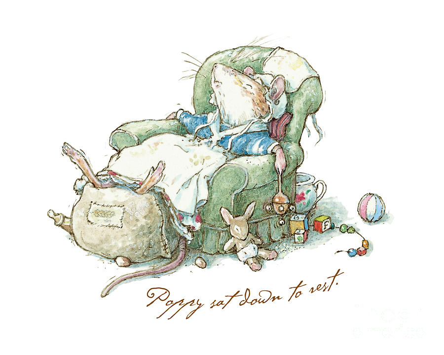 Brambly Hedge Drawing - Brambly Hedge - Poppy sat down to rest by Brambly Hedge