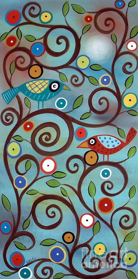 Birds Painting - Branch Birds by Karla Gerard