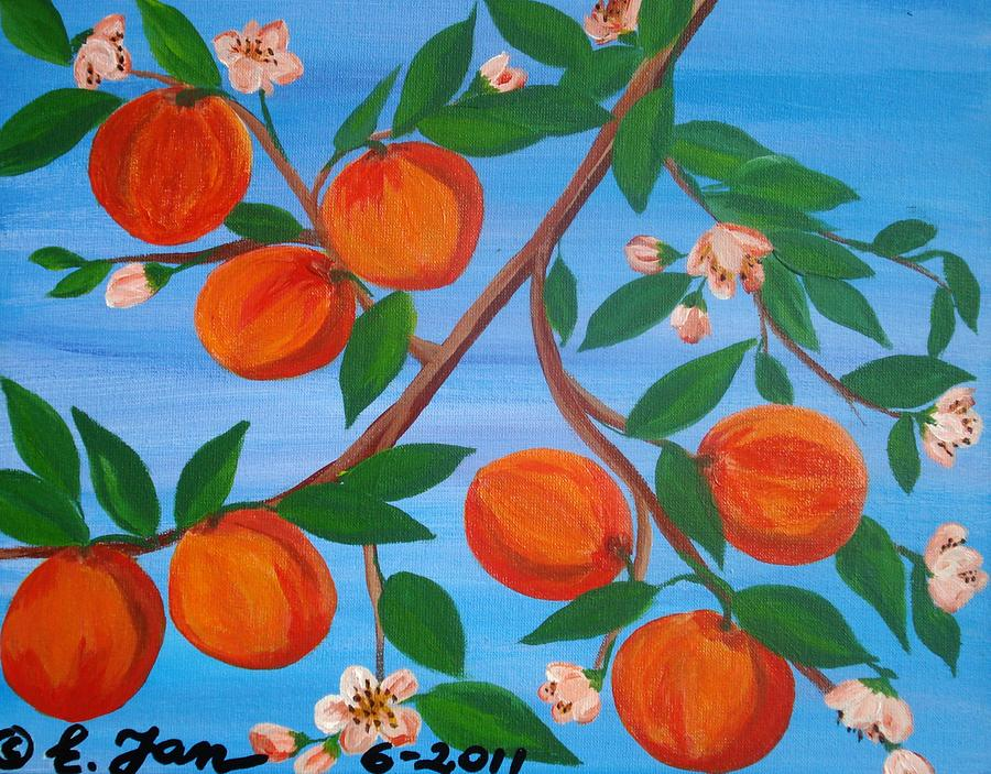 Peaches Painting - Branch Of Peaches by Elizabeth Janus