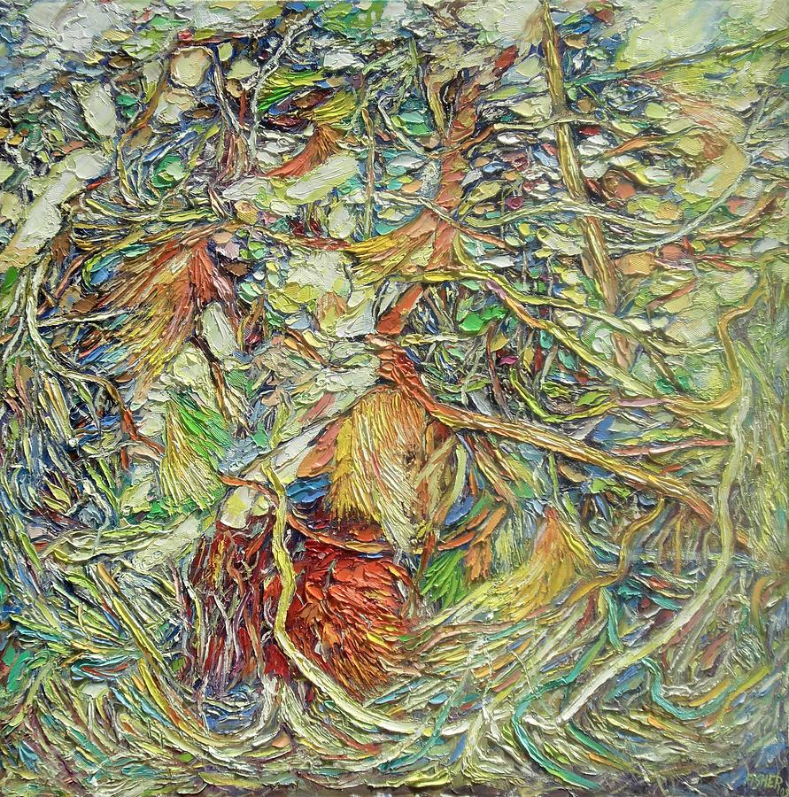 Oil Painting - Branches And Colors by Abraham  Fisher