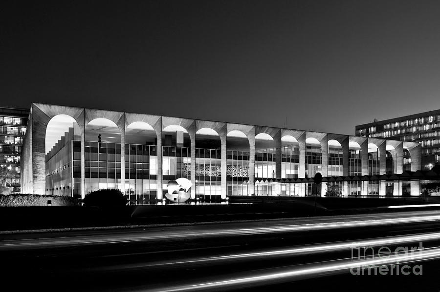 Brasilia - Itamaraty Palace - Black and White by Carlos Alkmin