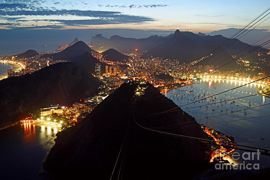 America Photograph - Brasil,Rio de Janeiro,Pao de Acucar,viewpoint,panoramic view,Copacabana at night by Juergen Held