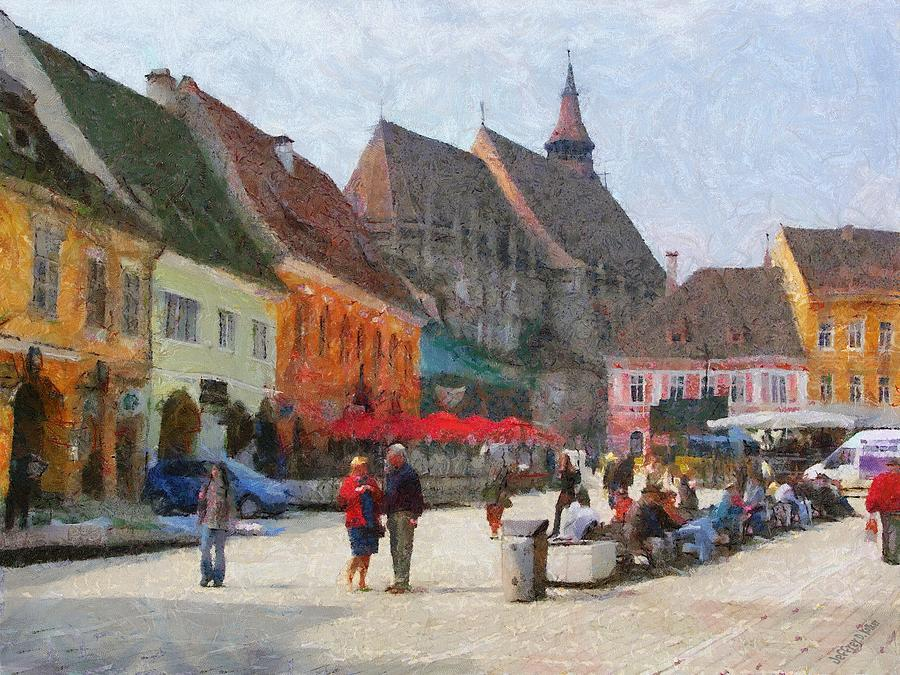 Shop Painting - Brasov Council Square by Jeff Kolker