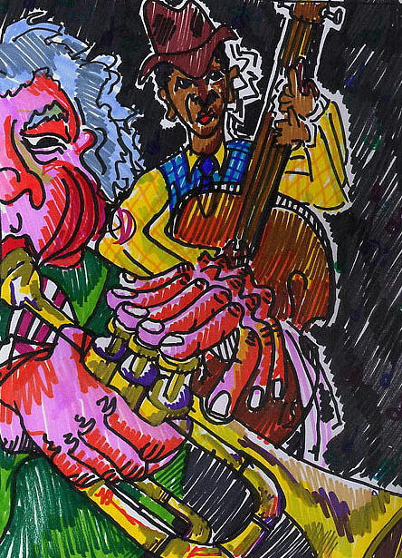 Band Drawing - Brass And Bass by Jame Hayes