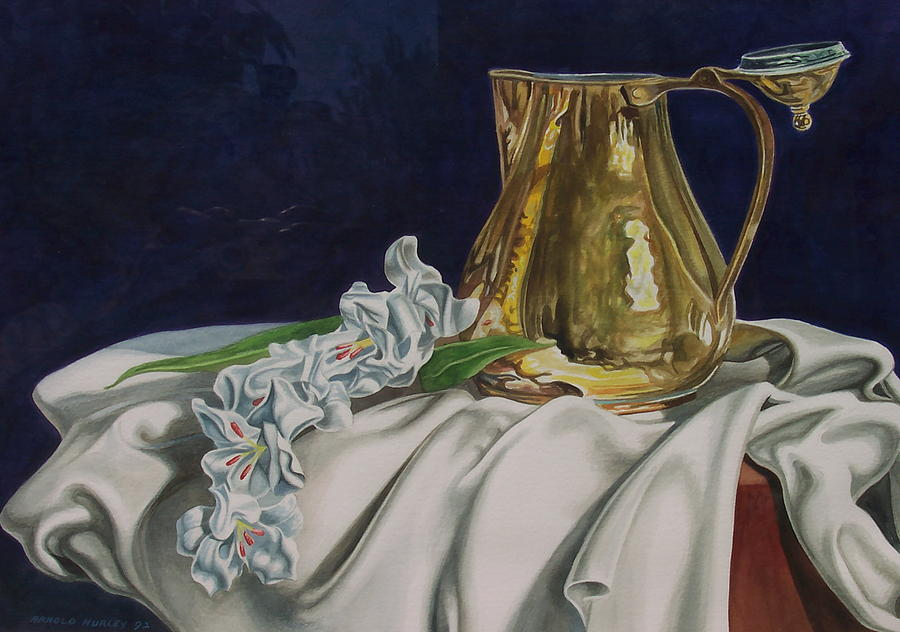 Brass And Flowers Painting by Arnold Hurley