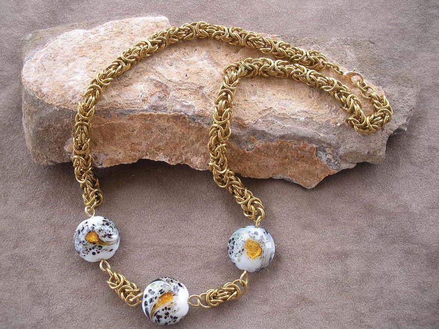Brass Jewelry - Brass And Glass Byzantine Necklace by Donna Smith