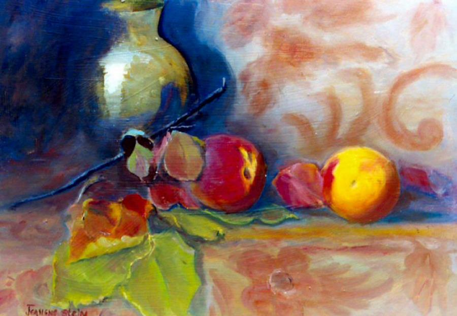 Peaches Painting - Brass And Peaches by Jeanene Stein