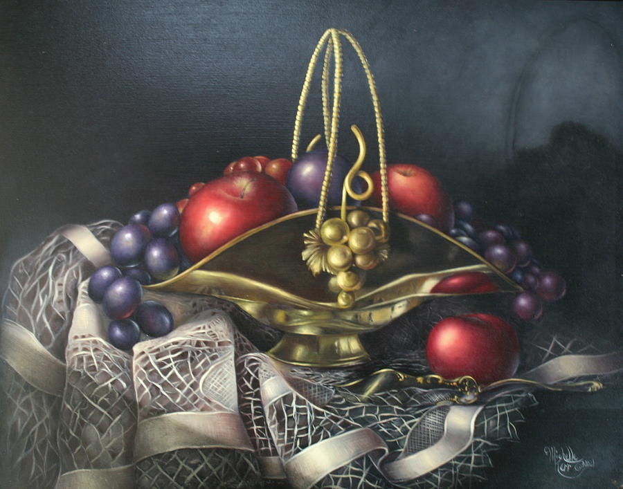 Still Life Painting - Brass Basket by Michelle Kerr
