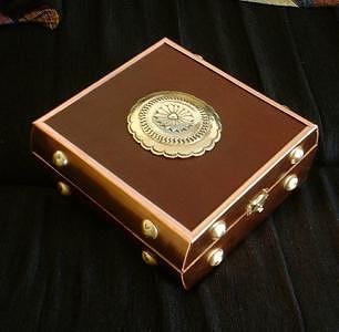 Treasure Box Mixed Media - Brass Copper And Leather Treasure Box by Eddie Romero