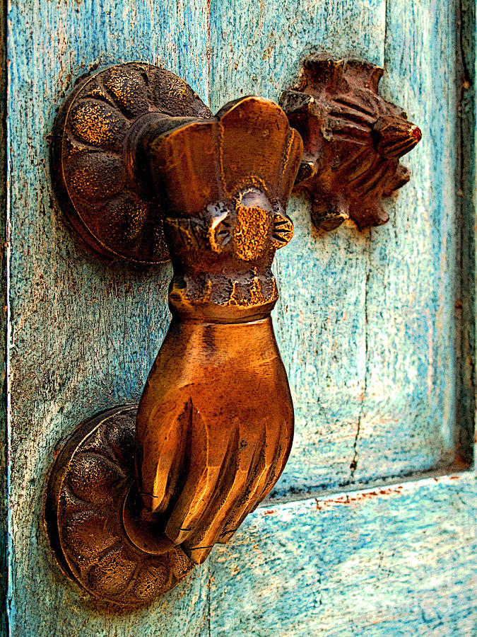 Michael Fitzpatrick Photograph - Brass Hand On The Blue Door by Mexicolors Art Photography
