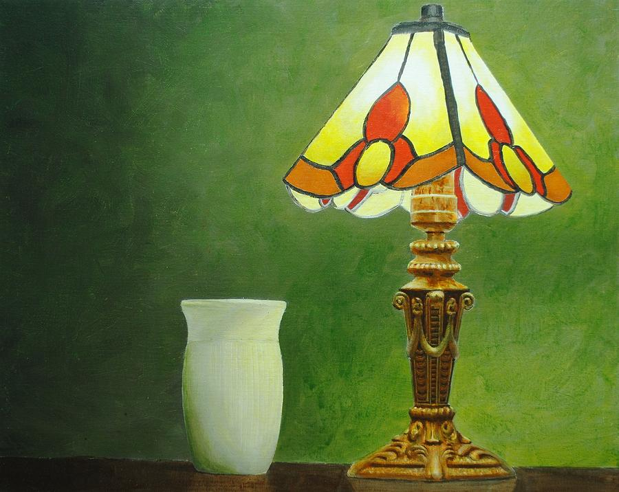 Acrylic Painting - Brass Lampshade by Nolan Clark