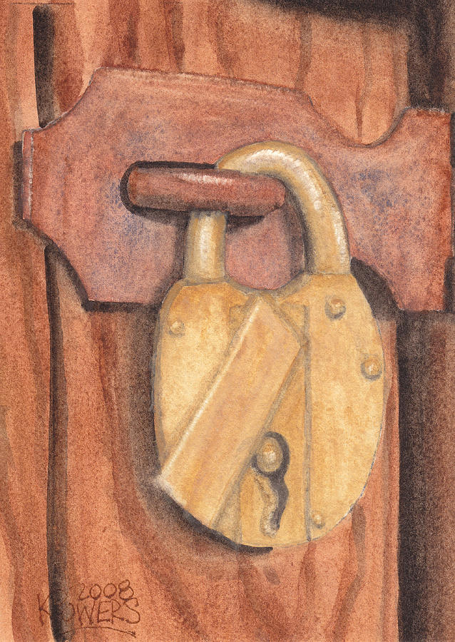 Brass Painting - Brass Lock On Wooden Door by Ken Powers