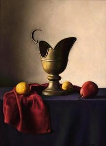 Still Life Painting - Brass Pitcher With Fruit by Keith Murray