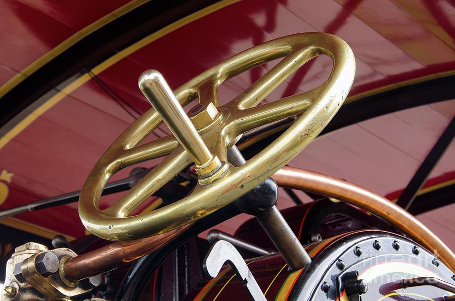 Fowler Photograph - Brass Steering Wheel by Steev Stamford