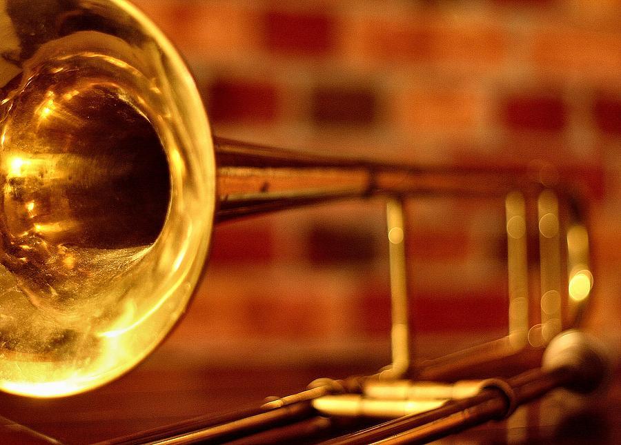 Music Photograph - Brass Trombone by David  Hubbs