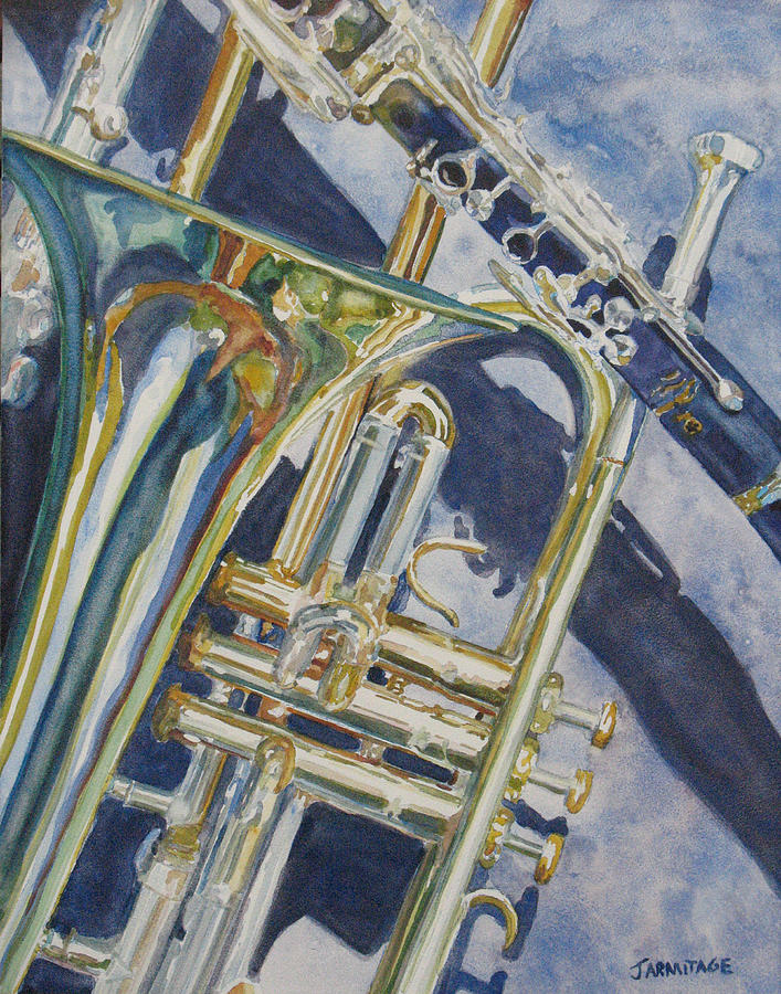 Brass Painting - Brass Winds And Shadow by Jenny Armitage