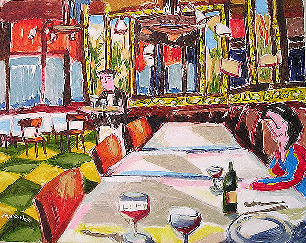 Bold Colors Painting - Brasserie Lipp by Nancy Rourke