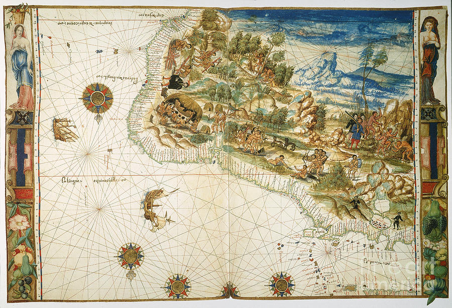 1547 Photograph - Brazil: Map And Native Indians by Granger
