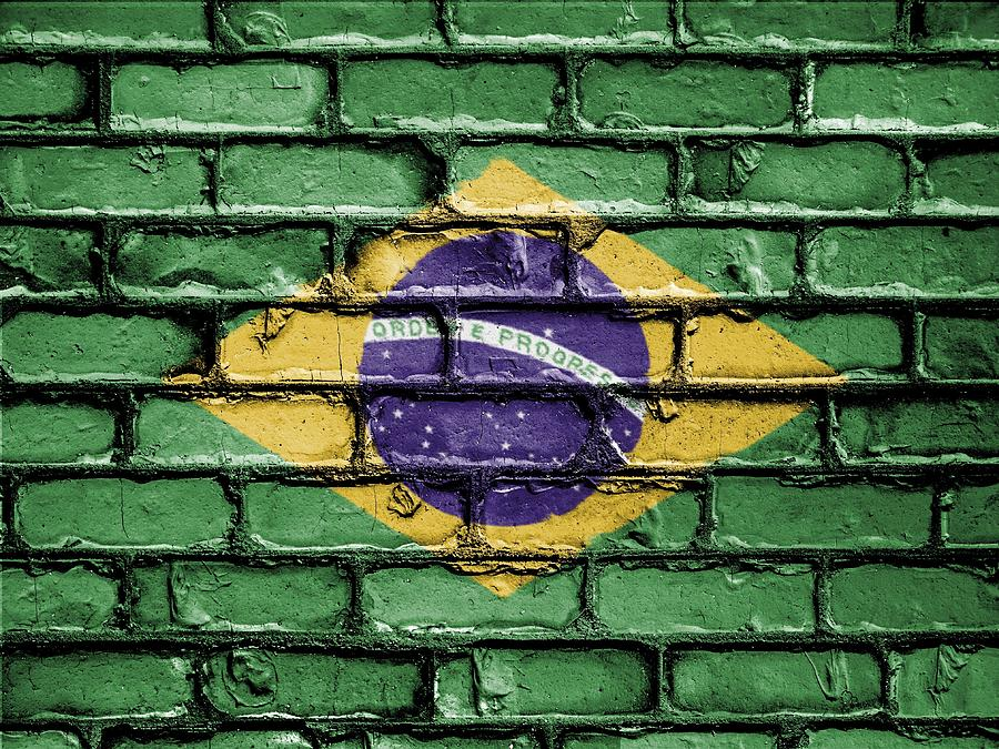 Brazil National Flag Painted On A Brick Wall Photograph By Artpics