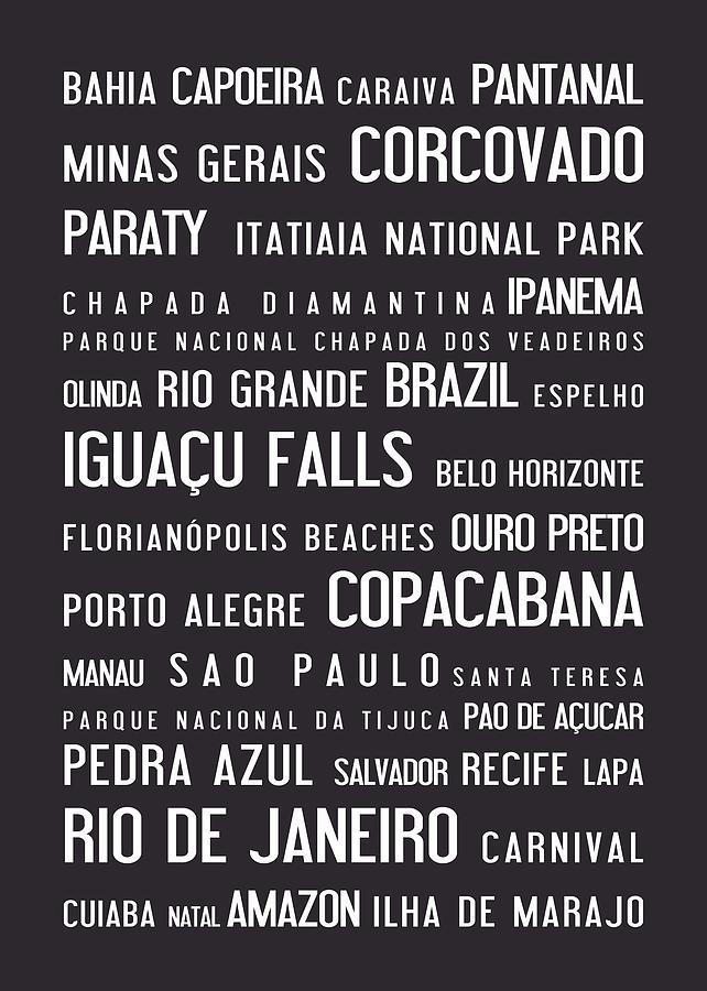 Brazil, Typographic Poster, Grey Digital Art