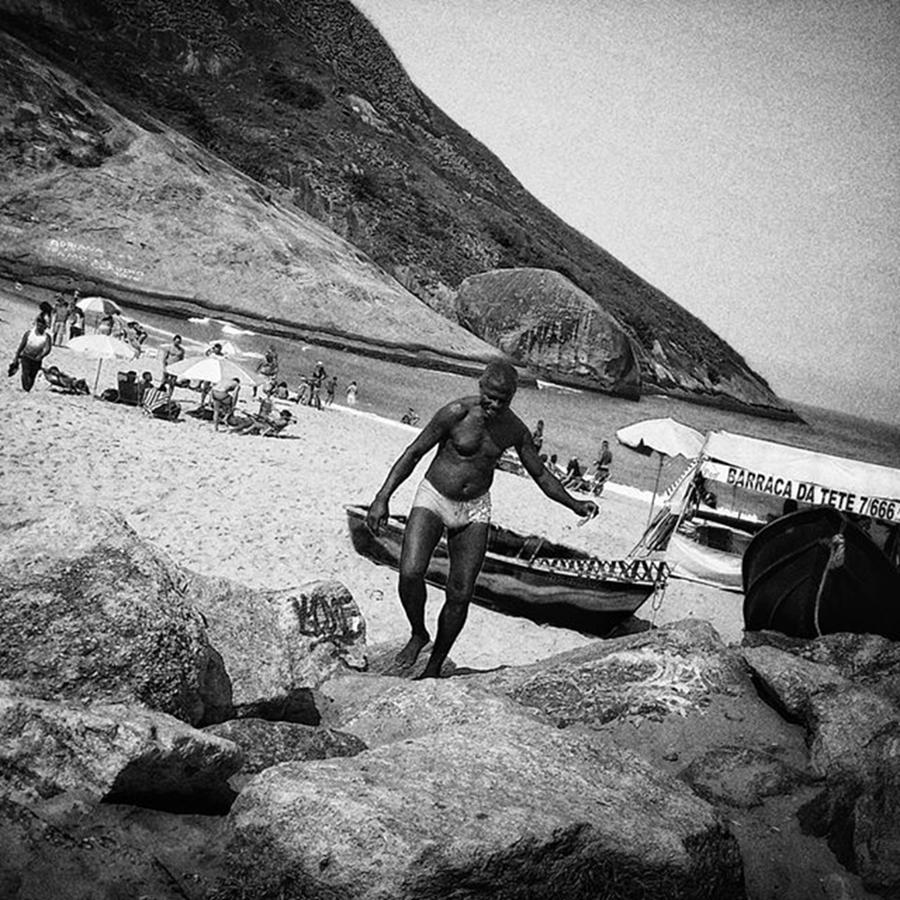 Blackandwhite Photograph - Brazilian Tanning  #man #beach #sea by Rafa Rivas