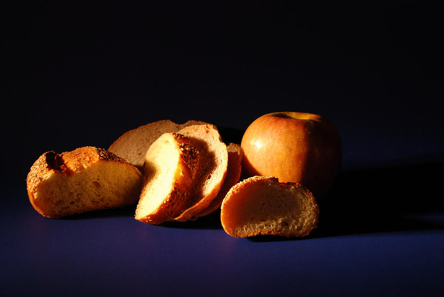 Still Life Photograph - Bread And Apple by William Thomas