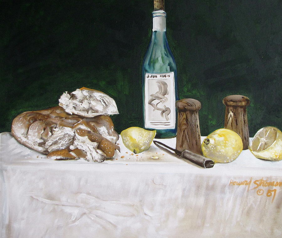 Bread And Wine Painting by Howard Stroman