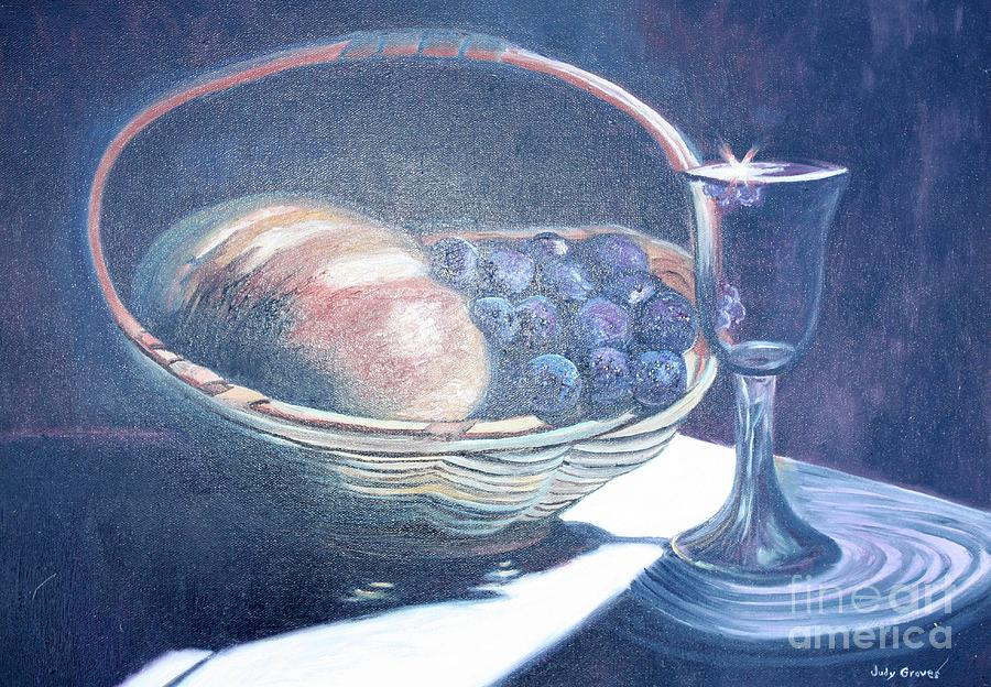 Bread And Wine Painting By Judy Groves