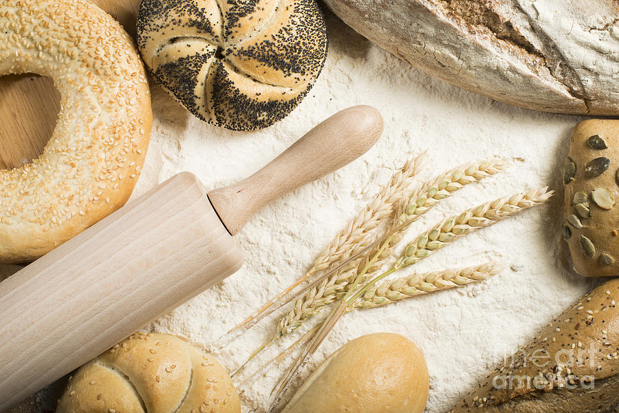 Background Photograph - Breads. Pile Of Flour, Rolling Pin And Wheat by Deyan Georgiev