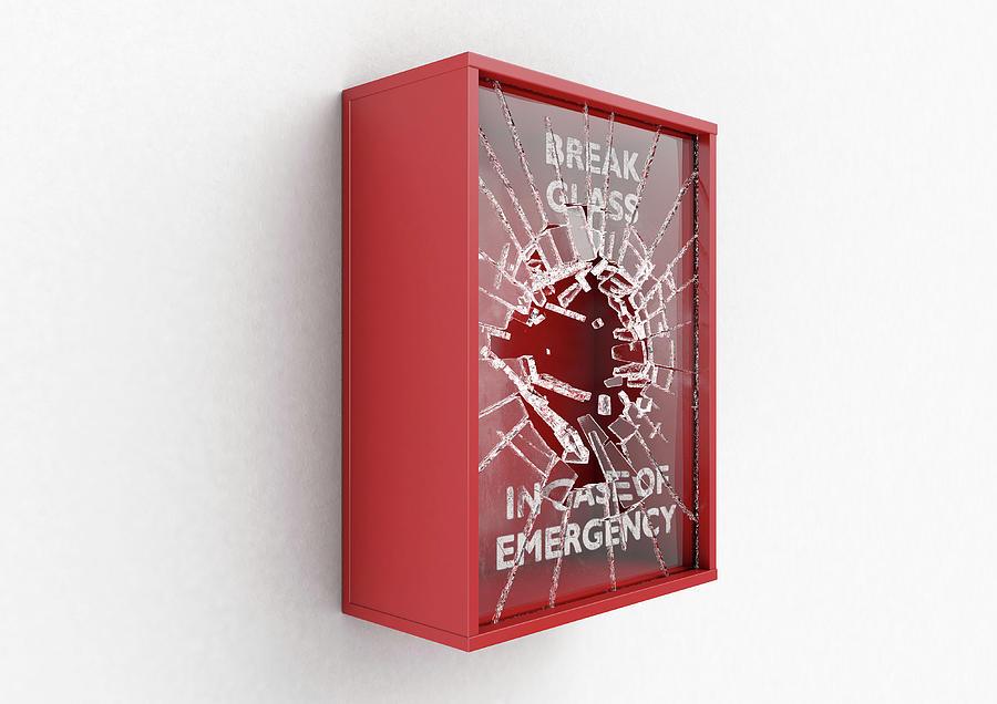 Box Digital Art - Break In Case Of Emergency Red Box by Allan Swart