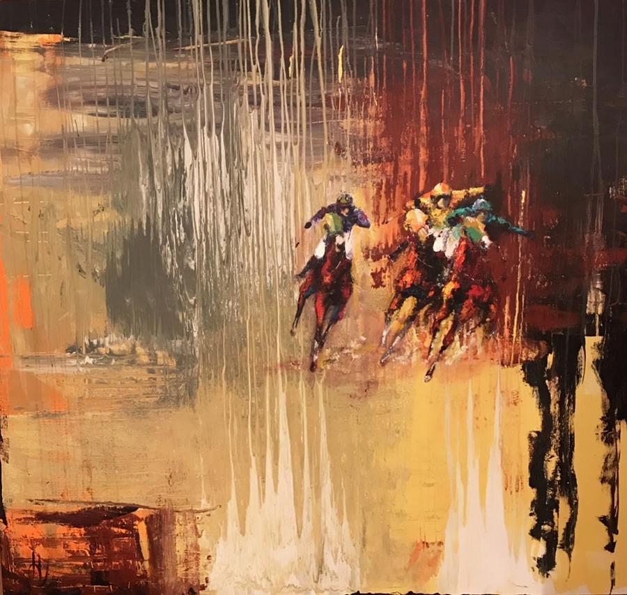 Race Horses Painting - Break Maiden by Heather Roddy