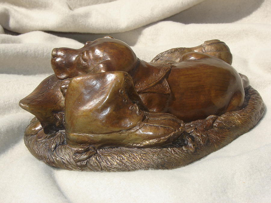 Pup Sculpture - Break Time by Cary Savage-Ingram