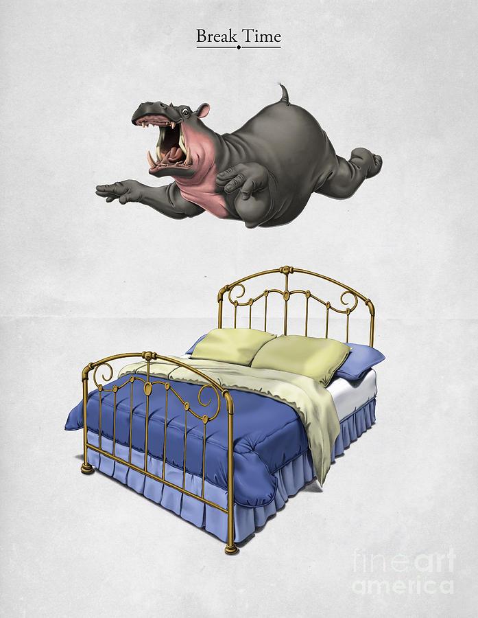 Hippo Digital Art - Break Time by Rob Snow
