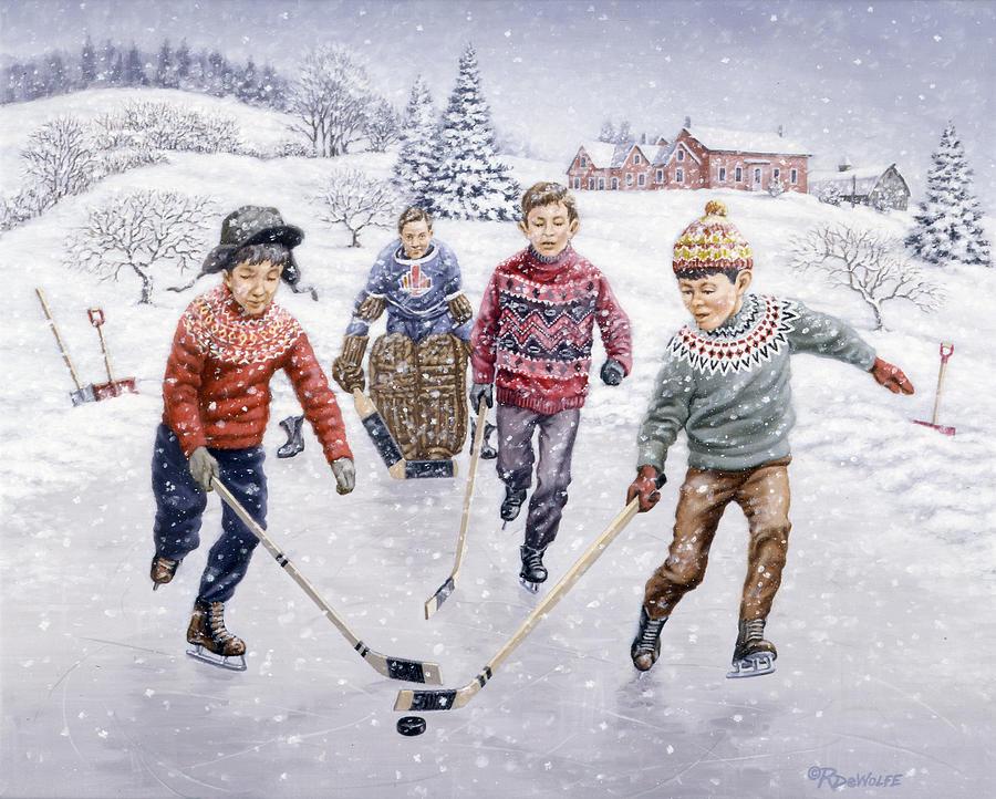 Hockey Painting - Breakaway by Richard De Wolfe