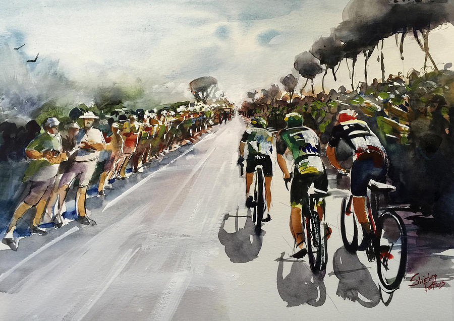 Le Tour De France Painting - Breakaway Through Crowds  by Shirley Peters