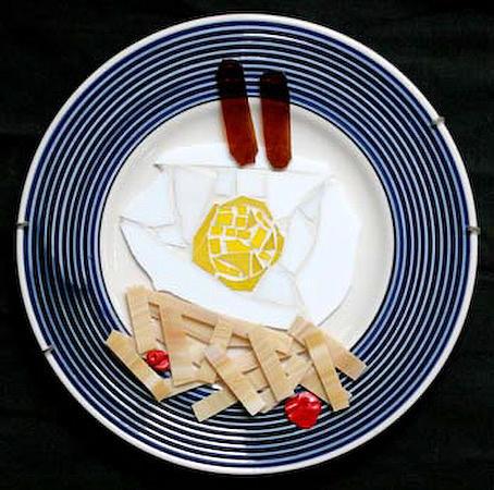 Eggs Glass Art - Breakfast by Diane Morizio