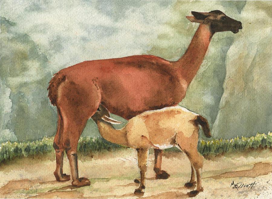 Llamas Painting - Breakfast On Machu Picchu by Marsha Elliott