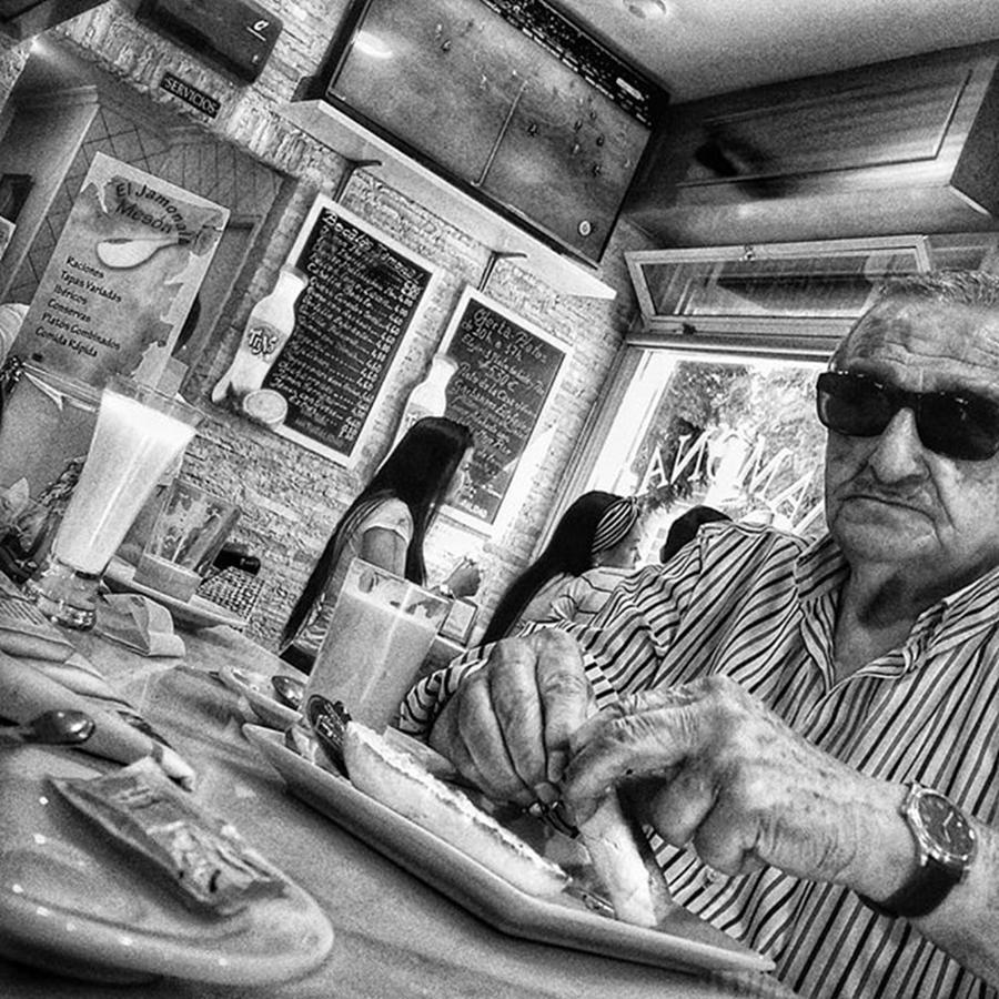 City Photograph - Breakfast Time  #man #eat #food #bar by Rafa Rivas
