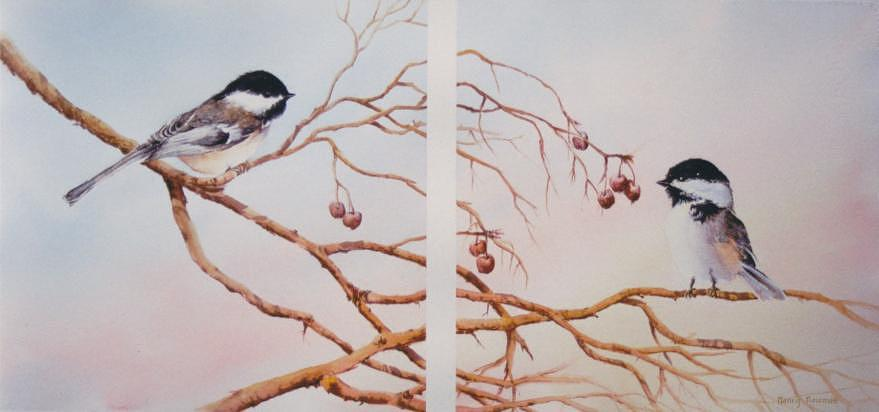 Chickadees Painting - Breakfast-together by Nancy Newman