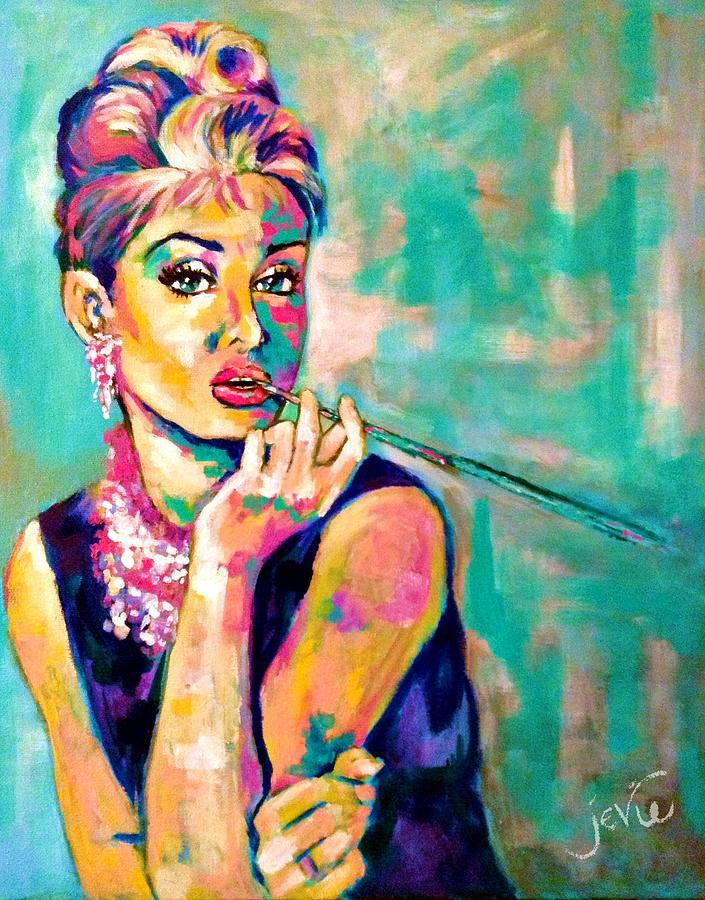 Painting Painting - Audrey Hepburn Painting, Breakfast At Tiffanys by Jevie Stegner