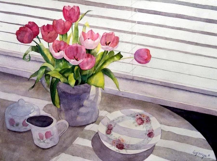 Tulips Painting - Breakfast With Tulips by Lizbeth McGee