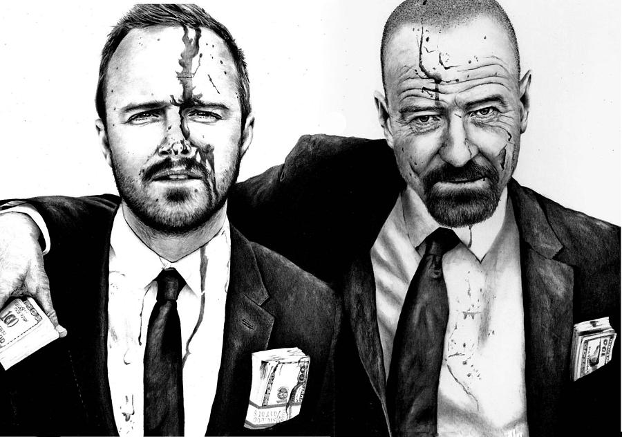 Aaron Paul Drawing - Breaking Bad 2 by Rick Fortson