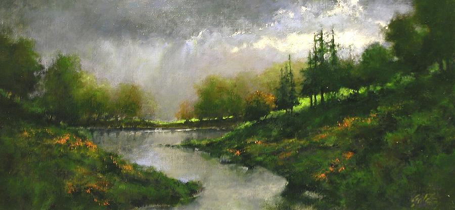 Landscapes Painting - Breaking Clouds by Jim Gola