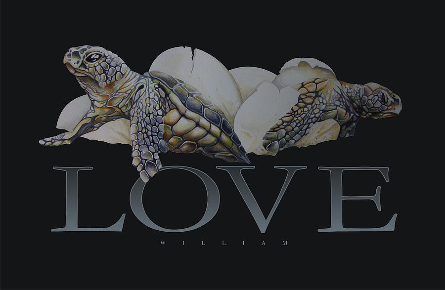 Loggerhead Turtle Painting - Breaking Out by William Love