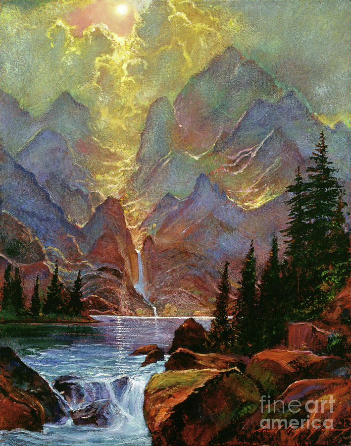 Mountains Painting - Breaking Sunlight by David Lloyd Glover