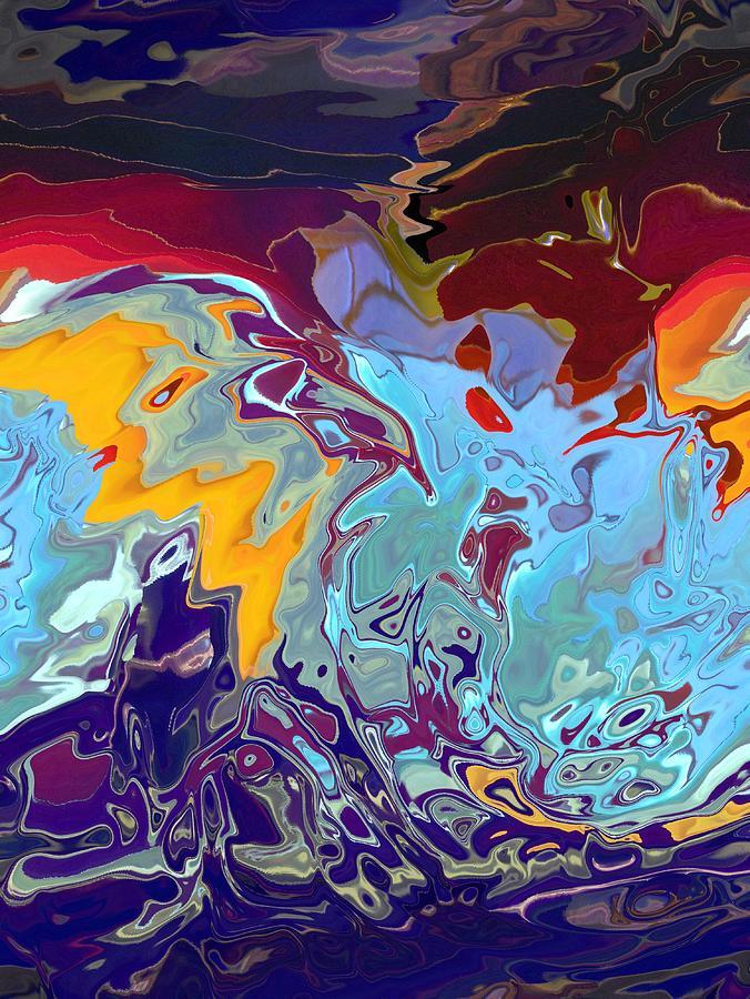 Blue Digital Art - Breaking Waves by Alika Kumar